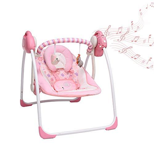 Balancelle-BbTransat-lectrique-bebe-Compacte-2-en-1-6-Vitesses-de-Balancement-Vibrations-Apaisantes-2-directions-de-balancement-16-chansons-douces-et-jouets-mignons-pour-accompagner-bbRose-0